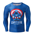 Мода Marvel Мститель Капитан Америка Базовый Слой Футболки Мужские С Длинным Рукавом Мужская Фитнес Crossfit Сжатия Clothing