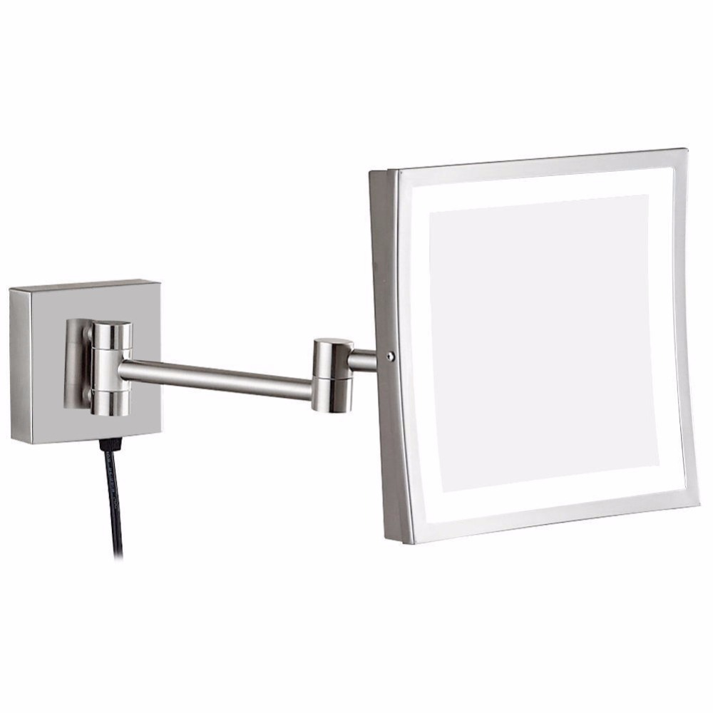Gurun 3x Magnifying Vanity Lighted Makeup Mirror with led Lights and Magnification Bathroom Square Shaving Wall