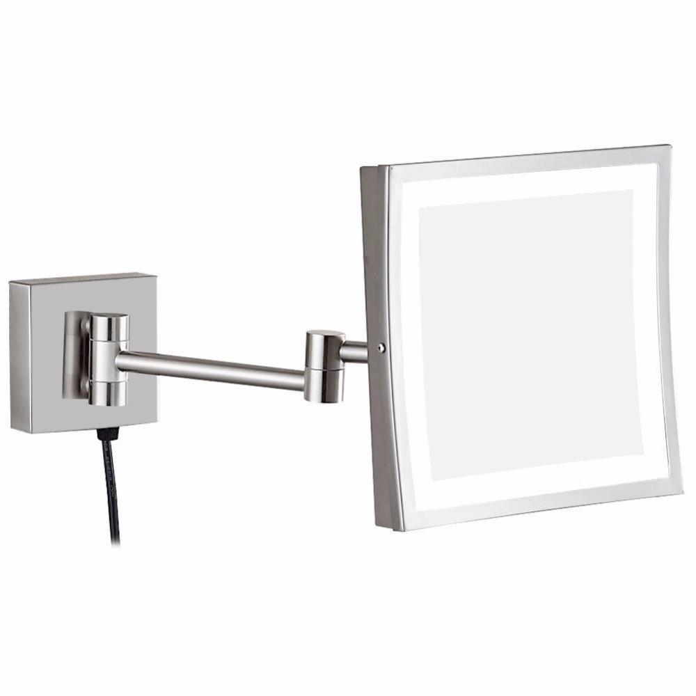 Gurun 3x de Ampliação Iluminado Maquiagem Espelho de Vaidade com Luzes led e Ampliação, Espelhos De Parede de Barbear banheiro Quadrado Níquel