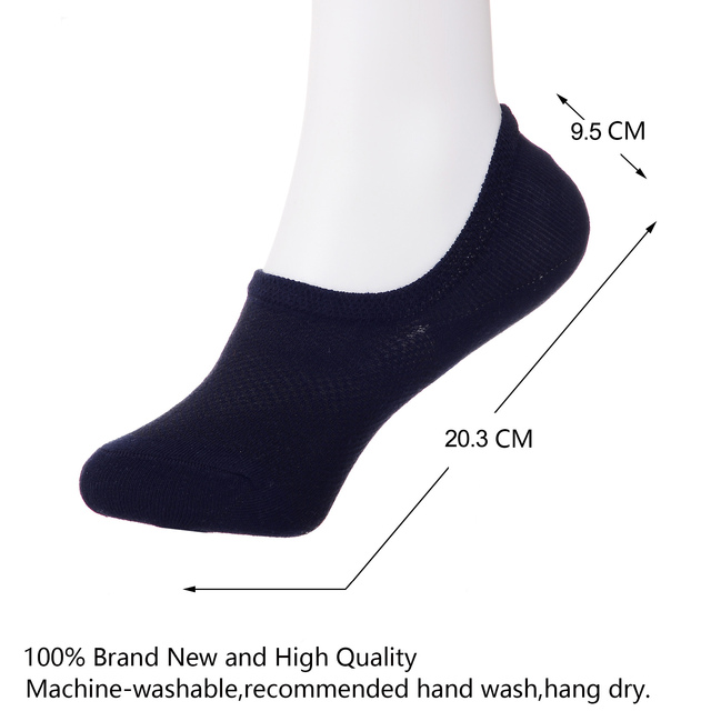 3 Pairs Cotton Low Cut Non-Slip Invisible Liner Socks for Men