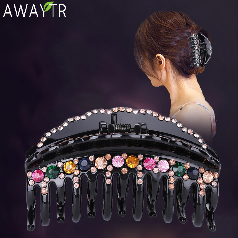 Women's Hair Claws Acrylic Crystal Hair Clip Hendbands Big Fashion Floral Hairpin Double Layer Fixing Ladies Hair Accessories