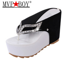 Mvp Boy 2018 Brand Women Summer Slippers Thick Bottom Platform Flip Flops Rhinestone Wedge Heel Shoes Patchwork Woman