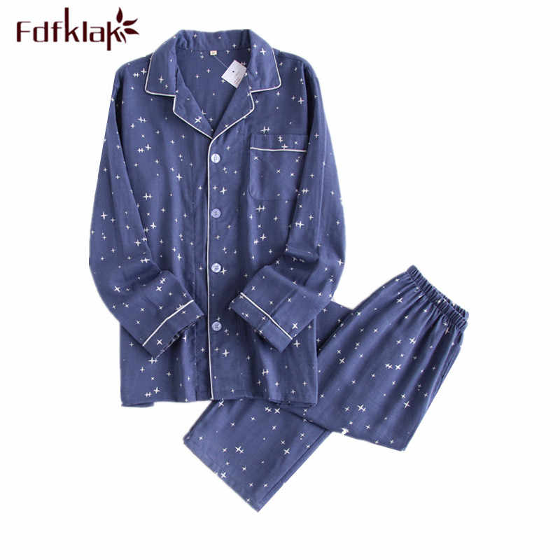 Fdfklak كبير حجم القطن منامة النساء صالة ملابس خاصة مجموعة الزوجين بيما الربيع الخريف الملابس المنزلية المرأة البيجامة دعوى