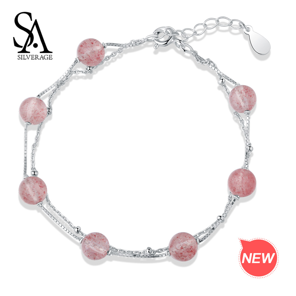 SA SILVERAGE 925 Sterling Silver Strawberry Crystal Chain Link Bracelets Bangles for Woman Two Layer Round Ball Wrap Bracelets 2018 mens jewelry double layer link chain men bracelets 925 sterling silver bracelets