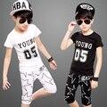 2016 new Boy girl set de ropa Para Niños de primavera/otoño niños Carácter combinación Negro/blanco