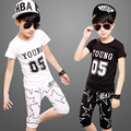 2016 new Boy girl set of Children's clothing  with spring /autumn  Children's clothing Character combination Black/ white