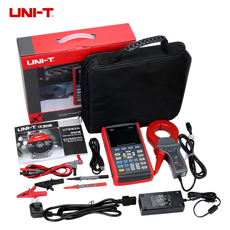 UNI-T UT283A Vrai RMS Monophasé Power Quality Analyzer Compteur D'énergie 0 ~ 9999MWh & USB Interface UT-283A