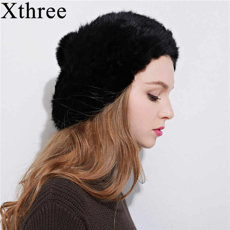 a9036a8e Xthree fashion Winter women rabbit fur beret hat for girl warm berets  fashion cap solid