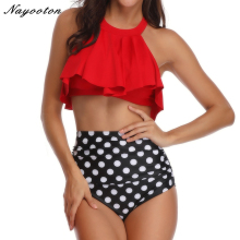 2018 hot retro black swimsuit underwire push up high waist bikini set sexy women swimwear high waist bathing suits biquni Sexy swimsuit swimwear women High neck Retro bikini 2019 Dot printing high waist bikini set push-up Off Shoulder bathing suit