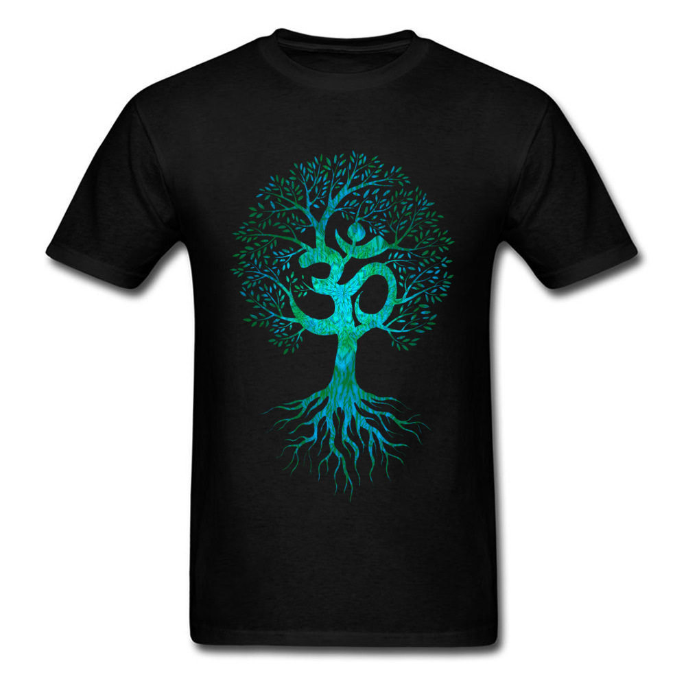 Men Tshirt Om Tree Of Life T Shirt Black T-shirt Europe Tops Tees Cotton Fabric Slim Fit Thanksgiving Day Clothes Birthday Gift
