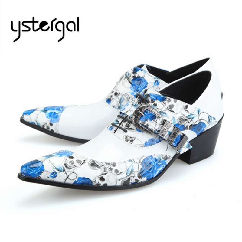 YSTERGAL Handsome Men Genuine Leather Oxford Shoes Lace Up Print Mens Wedding Dress Shoes Formal Business Flats Creepers ystergal gold metal pointed toe men leather shoes lace up mens prom wedding shoe business formal dress flats oxford shoes