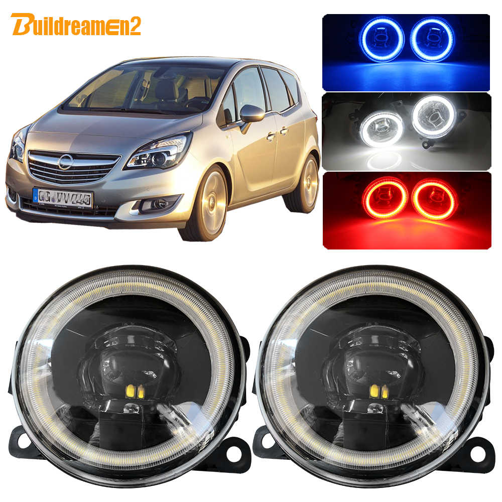 Buildreamen2 For Opel Meriva A Car 4000LM LED Bulb Fog Light Lens Angel Eye Daytime Running Light 12V 2006 2007 2008 2009 2010