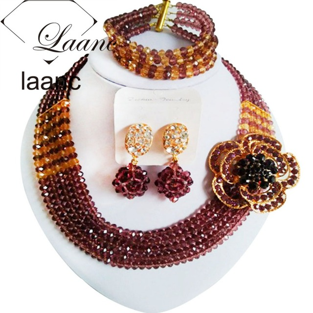Fashion crystal necklace bracelet african beads bridal jewelry set nigerian wedding Dark Purple and Gold Champagne z912