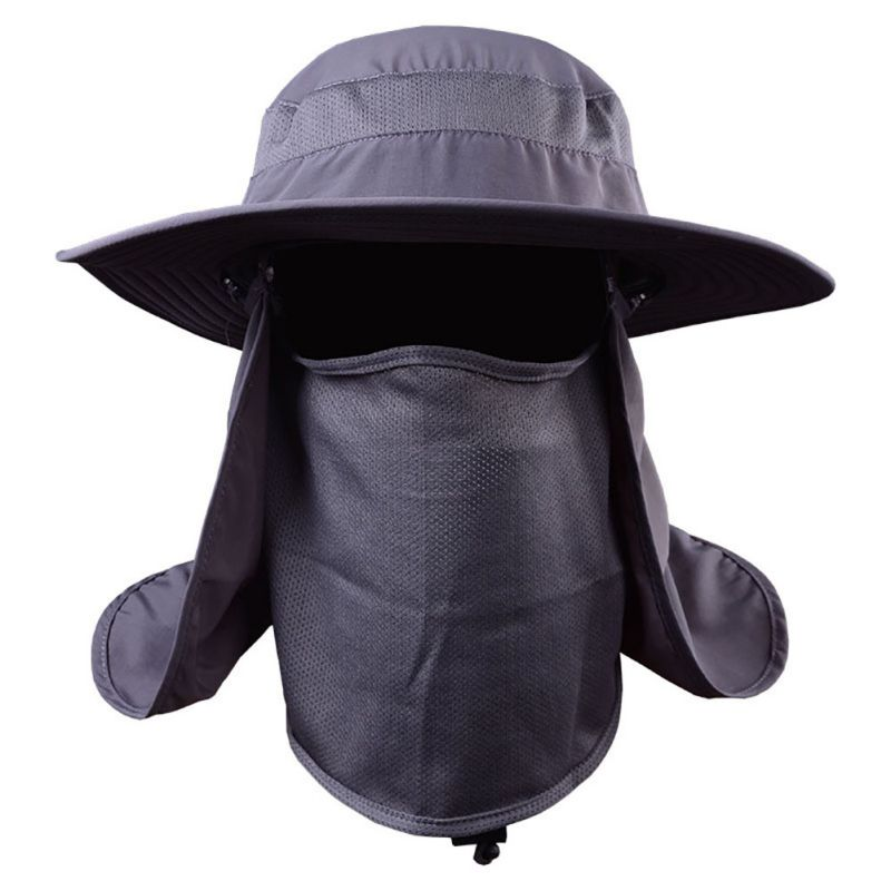 Outdoor Hiking Camping UV Protection Face Neck Cover Fishing Cap Visor Hat Neck Face Flap Hat Wide Brim Buckle wide brim straw hat