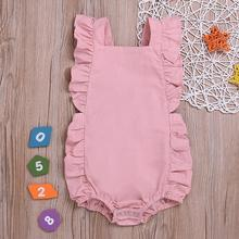 Newborn Baby Girl Ruffled Solid Color Sleeveless Backless Romper Jumpsuit Outfit Sunproof Suit цены
