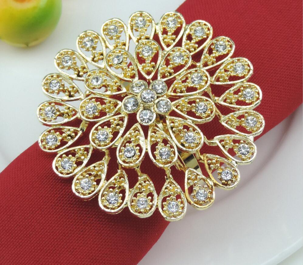 10pcs Alloy Rhinestone Flower Napkin Ring Serviette Buckle Holder Hotel Wedding Party Favour Decoration