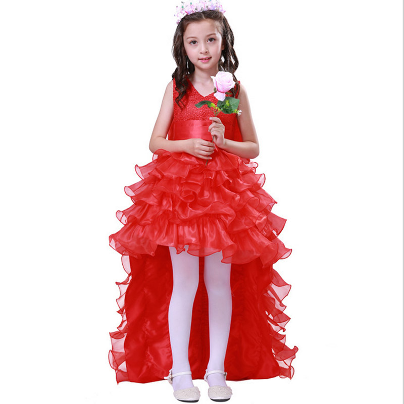 Party girl dress 2017 New kids girls trailing dress with bow-knot Child birthday surprises Girls Wedding Princess costume 2 -12T girls polk dot knot back dress