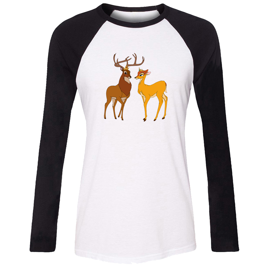 Design tshirt family - Bambi Design Pattern T Shirt Women Long Sleeve Graphic Tee Tops Family Vacation Fans Party