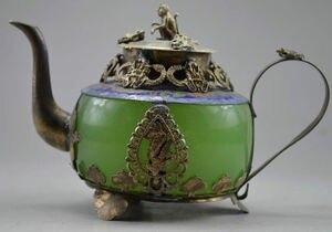 Tapa de mono de tetera dragón plateado coleccionable antiguo hecho a mano JADE VERDE y Tíbet
