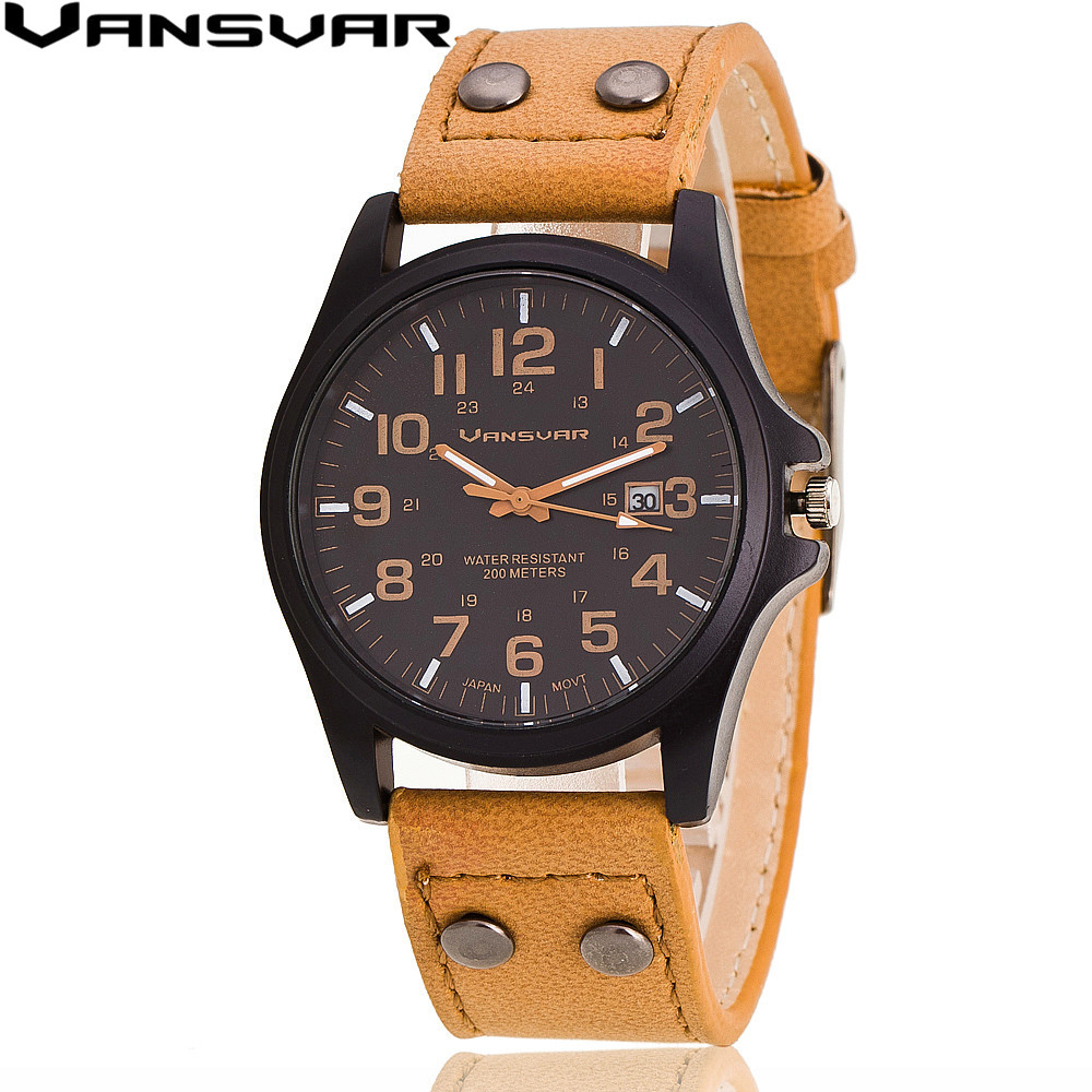 Vansvar 2017 New Fashion Men Vitage Wrist Watches Casual Leather Strap Military Watch Analog Quartz Watch Relogio Masculino 1847 bamboo wood watches for men and women fashion casual leather strap wrist watch male relogio