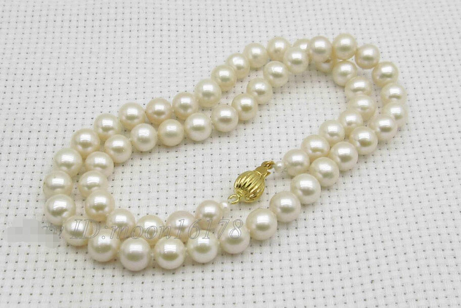 free shipping White 7-7.5mm AAA Akoya Pearl Necklace 17