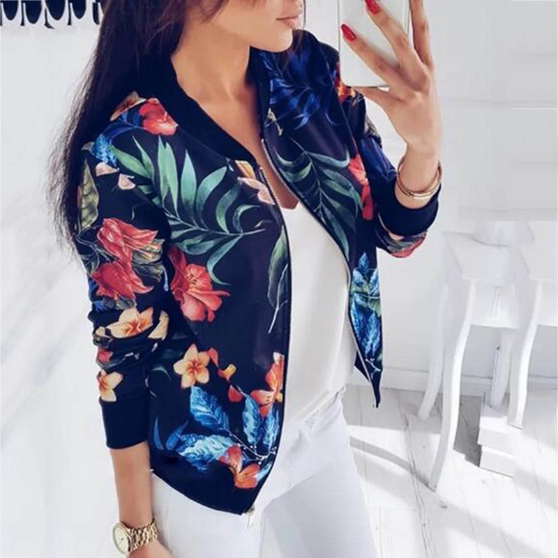Women Jackets Flower Floral Print Retro Ladies Zipper Up Short Thin Slim Bomber Jacket Coats Fashion Basic Casual Outerwear 5XL