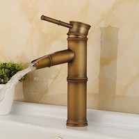 Free shipping Single handle antique bamboo faucet with high quality solid brass basin sink faucet from Senducst sanitary ware