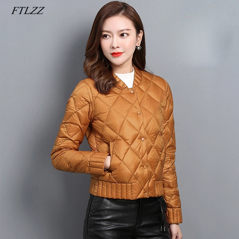 FTLZZ Ultra Light White Duck   Down   Jackets Autumn Winter Plus Size Women O Neck   Coat   Slim Warm   Down   Short   Coats
