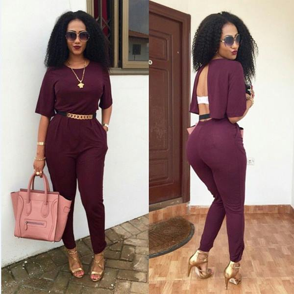 2015 Summer Women Back V Sexy Jumpsuits Rompers Bodysuits Overalls for Women  Casual Costume Playsuits Rompers w out Belt a122c8c46