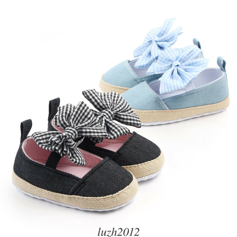 Newborn Baby Girl Crib Shoes Toddlers Princess First Step Bowknot Party Shoes Prewalker Non-slip Casual Sneaker