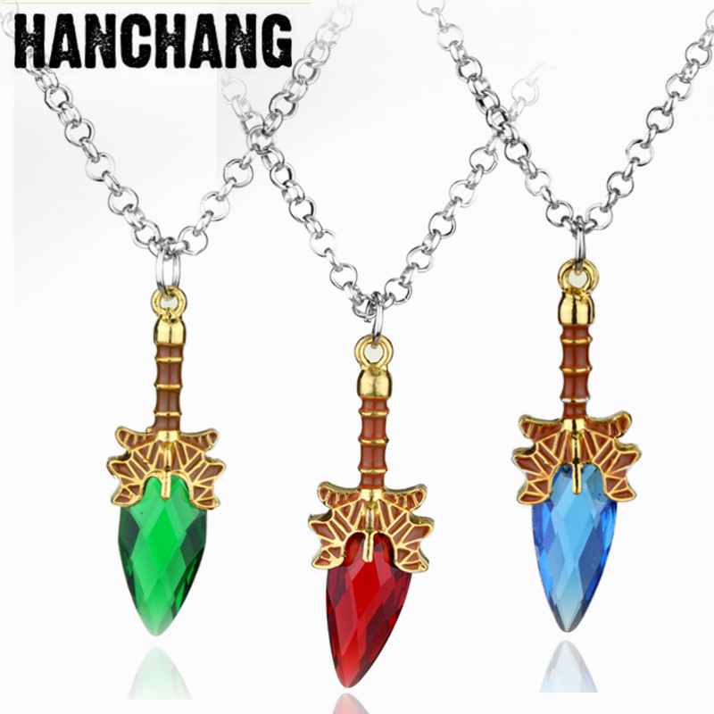 Hot Game Dota2 Necklace Aghanims Scepter Necklace Blue Red Green Natural Stone Pendant Necklace Women Girls Charm Jewelry Colar