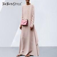 TWOTWINSTYLE платье макси для женщин O средства ухода за кожей шеи с длинным рукавом высокая разделение Oversize розовый платья 2018 Весенняя мода
