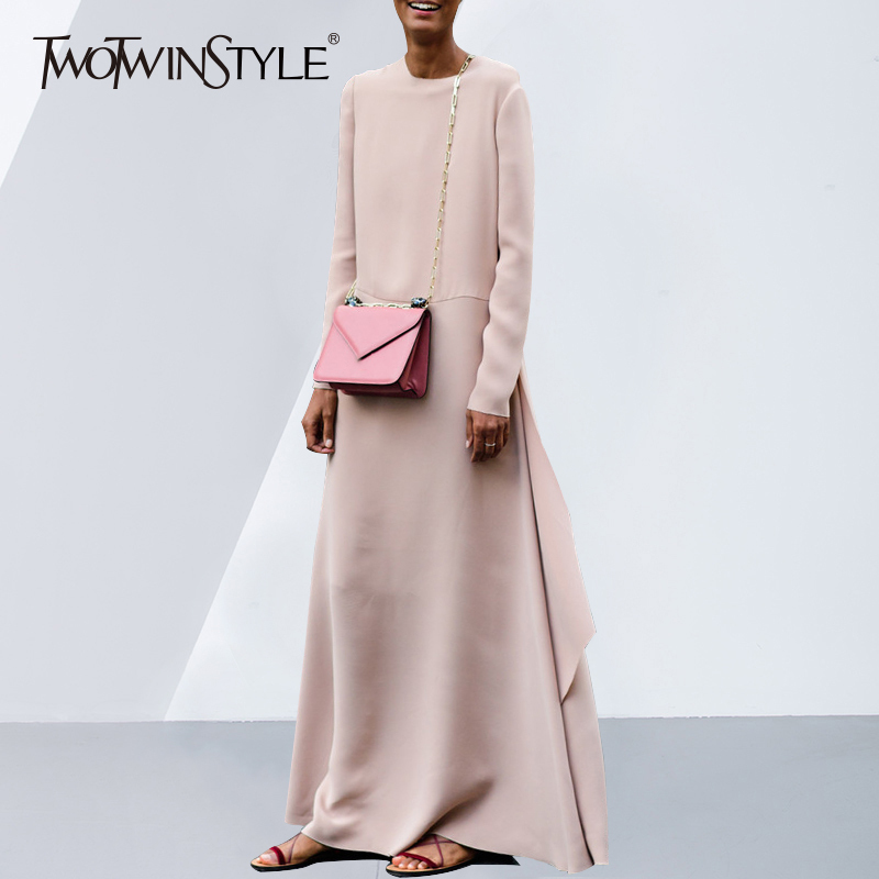 Kadın Giyim'ten Elbiseler'de TWOTWINSTYLE Maxi Kadınlar Için Elbise O Boyun Uzun Kollu Yüksek Bölünmüş Boy Pembe Elbiseler 2019 Bahar Moda Zarif Giyim'da  Grup 1