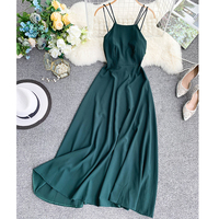 2019 new fashion women's dresses Retro Solid Color Sexy Bandeau Cross Tie Backless Dress