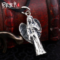 Vintage polish figure pendant  Beier 925 silver sterling retro pendant necklace free give black rope fashion jewelry A1260