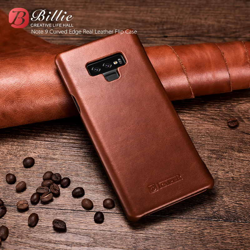 Curved Edge Vintage Retro For Samsung GALAXY Note 9 note9 High Quality Brand Real Genuine Natural Cow skin Leather Cover Case
