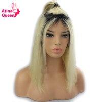 Атина королева Ombre Цвет 1B 613 светлые кружева спереди человеческих волос парики для черные женские Реми волос короткий покрой Боб парики из н...