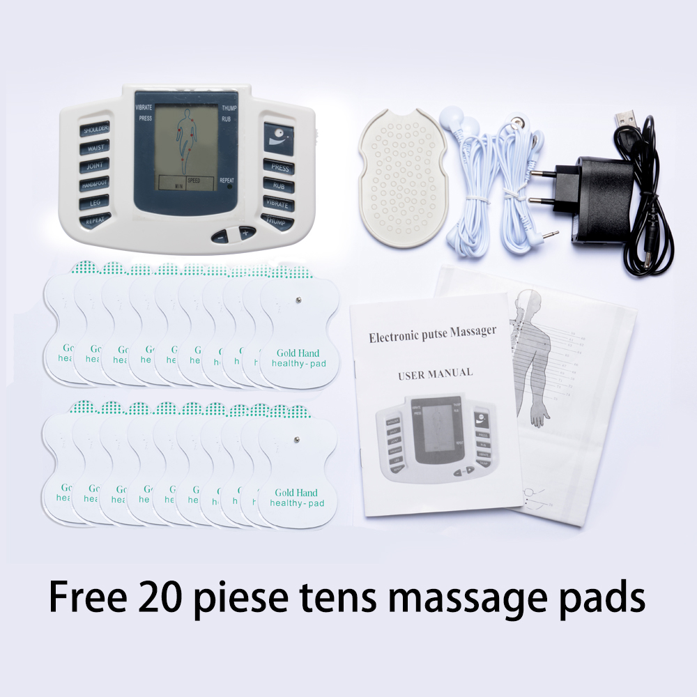 Hot!Health Care Electrical Muscle Stimulator Massageador Tens Acupuncture Therapy Machine Slimming Body Massager 20pcs Tens pads beurha health care electrical muscle body stimulator massageador tens acupuncture therapy machine slimming body massager 16 pad