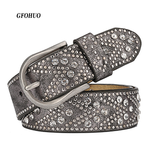 Image 1 - Rivet Vintage Luxury Designer Punk Set Auger Belts Women High Quality Female Genuine Real Leather Waist Handmade Strap for Jeans