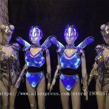 СВЕТОДИОДНЫЕ светящиеся сексуальное вечернее платье карнавал Виктория Подиум одежда Костюмы для бальных танцев сценический костюм для танцев DJ певица Карнавальная одежда