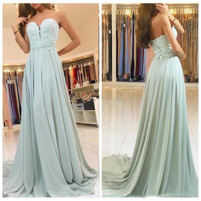 Menthe vert mousseline de soie dentelle Appliques robes de bal 2018 longue chérie une ligne robe formelle robes de soirée robes de gala