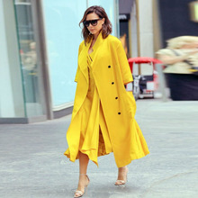 Elegant Trench 2016 Autumn Winter Double Breasted Fashion Star Runway Half Sleeve Yellow Brand Ladies Charming New Trench