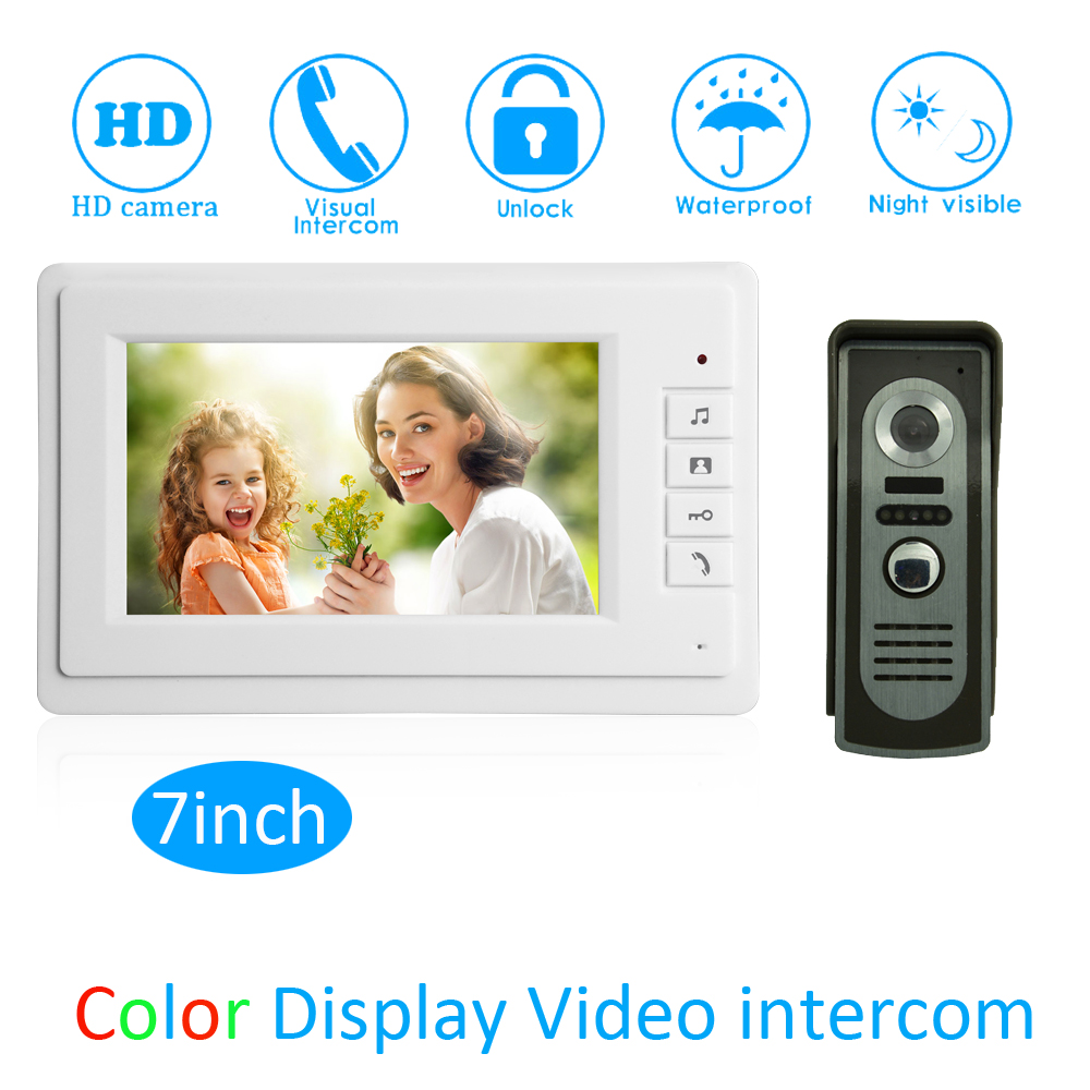 (1 Set) Security Home waterproof camera Video intercom door access system 1 to 1 video door bell 7 inch display for visitor 7 inch password id card video door phone home access control system wired video intercome door bell