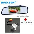 """Revesing câmera do carro venda quente 4 luzes led + 5 """"espelho retrovisor do carro lcd hd para NISSAN QASHQAI/X-TRAIL para Peugeot 307 Hatchback"""