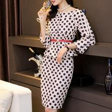 Ladies Formal Dress Suits Office Work Wear Business Vintage Elegant Polka Dot Women Blazer Top Pencil Dress With Belt Plus Size women 2019 summer polka dot vintage dress sexy deep v neck sleeveless party sundress elegant casual belt beach dress plus size