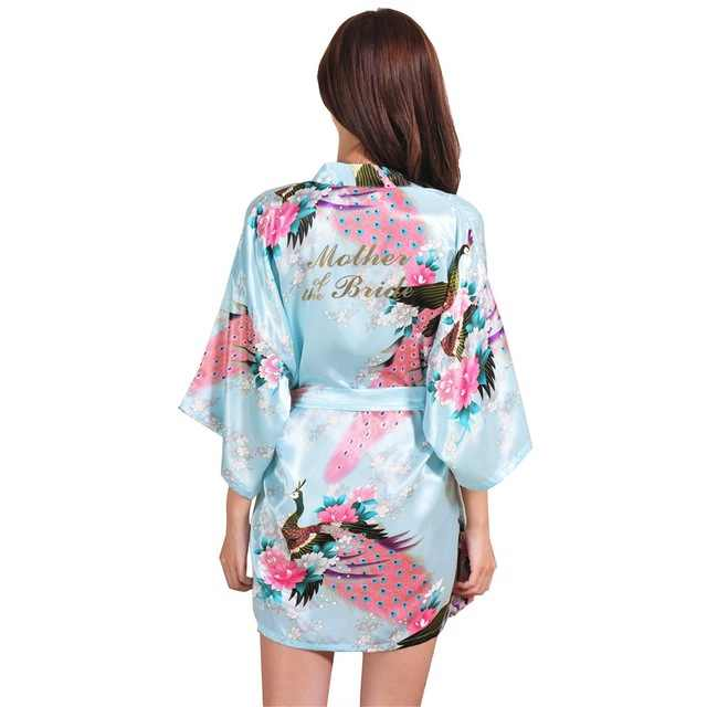 Mother of the Bride Silk Bride of Mother Robe with Gold Letter Sexy Women  Short Satin b0afbaf69ea7