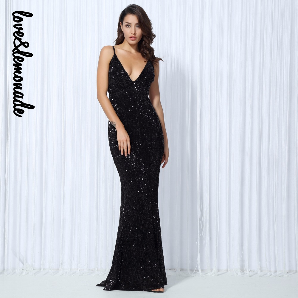 Love Lemonade Sexy Black Sequin V Collar Back Maxi Dress