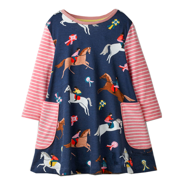 Girls' Casual Printed Cotton Dress
