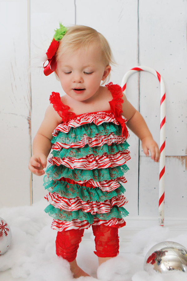 5a4414e16bfdf Christmas Lace Baby Ruffle Romper-Lace Romper Petti Romper-Infant Birthday  Outfit Photo Prop-Baby Couture Outfit