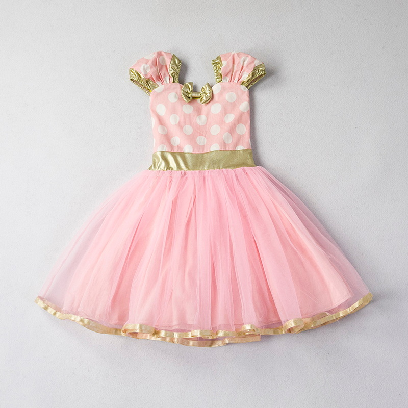 e0301e9627fe7 US $6.98 30% OFF|Summer Dresses for Girls Dot Pattern Kids Girl Clothes  Toddler First 1st Birthday Party Gowns Fancy Children Min Cute Costume-in  ...